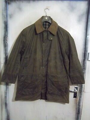 Vintage Man's Barbour Border Waxed Jacket Size C44 112Cm Single Crest