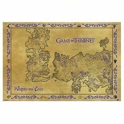 "New Game of Thrones Westeros & Essos Antique Style Map Art Poster Print 24""x36"""