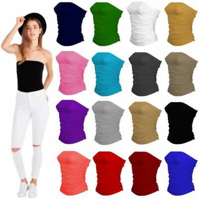 Womens Sleeveless Boobtube Bandeau Strapless Ruched Vest Top Ladies Plus 8-26