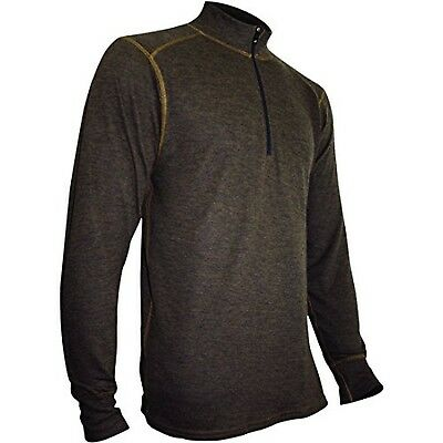 Polarmax Men's 2015 Montana Wool 2.0 Synthetic Zip Mock Baselayer XL Med Brown