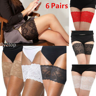 6Pairs Non Slip Lace Elastic Sock Anti-Chafing Thigh Bands Prevent Thigh Chafing