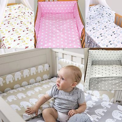 7 Pcs Baby Nursery Bedding Set GIRLS or BOYS Fit to COT BED 140x70cm 100% COTTON