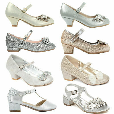 Girls Wedding Court Shoes Bridesmaid Low Heel Mary Jane Evening Party Sandals