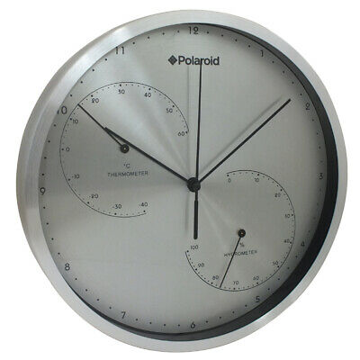 Polaroid 25.2Cm Wall Clock Weather Station Thermometer Hygrometer - Silver