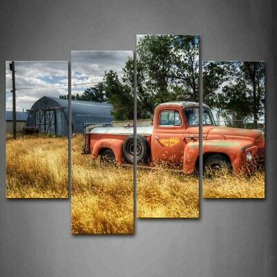 Framed 4 Pcs Red Discarded Car Canvas Print Wall Art Painting Old Truck Picture
