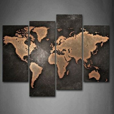 Framed 4 Panel World Map Black Background Canvas Print Wall Art Painting Picture