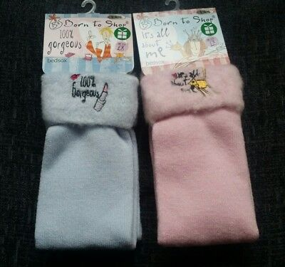 Ladies 2 Pairs Born To Shop 100% Gorgeous Bed Socks - Blue & Pink