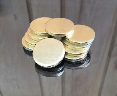 "Brass Disk Circle Blanks 1"" Diameter 1/8'' Thick 10 Pieces"