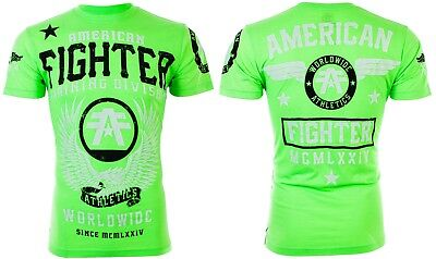 AMERICAN FIGHTER Mens T-Shirt FLY BY Athletic BRIGHT GREEN Biker Gym MMA UFC $40
