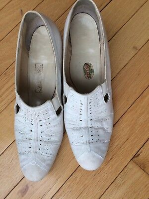 Vintage 1940s 40s Slip On Nurse Shoes Leather w Silk Label