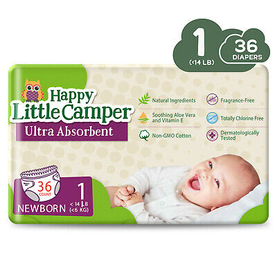 Happy Little Camper Ultra Absorbent Premium Natural Nappies, Size 1, 36 Count