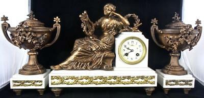 Stunning antique 19th c French Figural White Marble Mantel Clock garniture Set