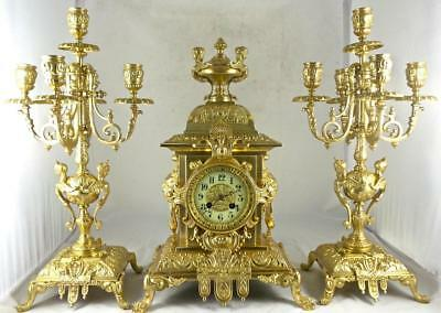 Superb Antique French Japy Freres 19th c gilt bronze mantle clock garniture set