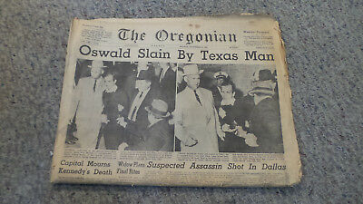 Oregonian Newspaper Nov 25 1963 Oswald Slain by Texas Man Kennedy Assassination