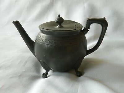 Antique Victorian Pewter Teapot Shaw & Fisher Sheffield