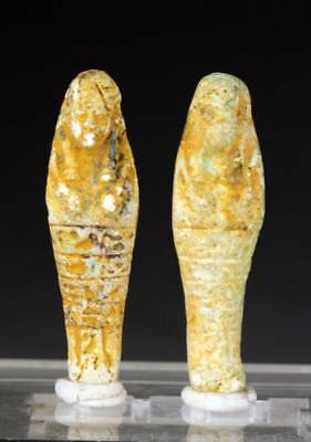 *SC*PAIR OF FINE SMALLER FAIANCE EGYPT EGYPTIAN USHABTI 1st mill. BC