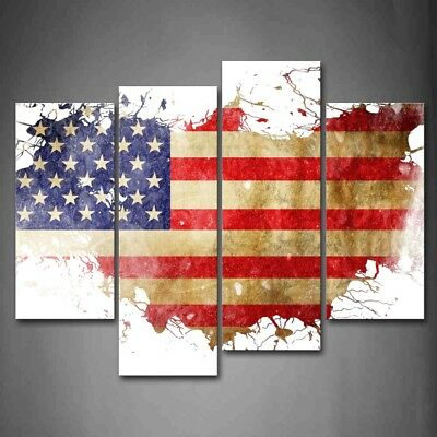 Framed American Flag Country'S Outline Canvas Print Wall Art Painting Picture