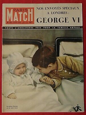 1951 Paris Match Reporting illness of King George VI.  Prince Charles on cover