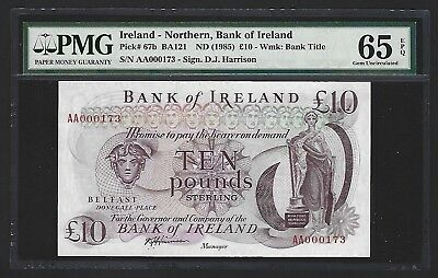 1985 Northern Ireland Bank of Ireland 10 Pounds GEM UNC PMG 65 EPQ P-67b S/N 173