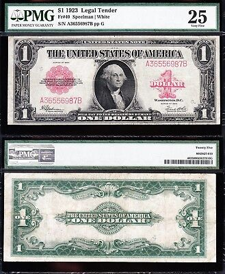 VERY NICE Bold & Crisp VF 1923 $1 RED SEAL US Note! FREE SHIP! PMG 25! A36556987