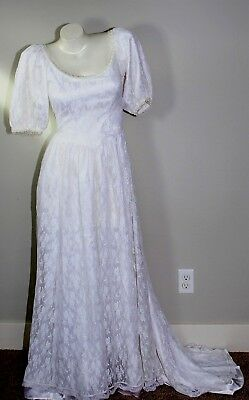 VTG Susan Lane's Country Elegance Victorian Wedding Dress Puff Sleeves Lace