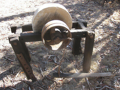 Antique BLACKSMITH SHARPENING STONE Unique pedal type 100 y.o. Pick Up only