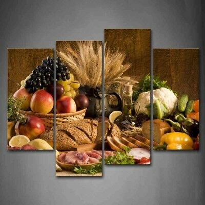 Framed 4 Panels Fresh Food Fruit Basket Canvas Print Wall Art Painting Picture