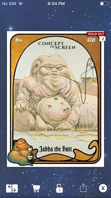 Topps Star Wars Digital Card Trader Gold Jabba The Hutt Concept Insert