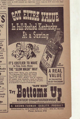 1938 newspaper ad for Bottoms Up Bourbon - Richness of Slow Mash, Full Bodied