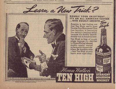 1938 newspaper ad for Ten High Bourbon Whiskey - Two friends and a card trick