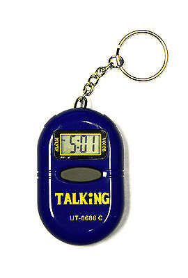Digital Time Talking Clock Watch Key Chain with Alarm & Repeater For The Blind