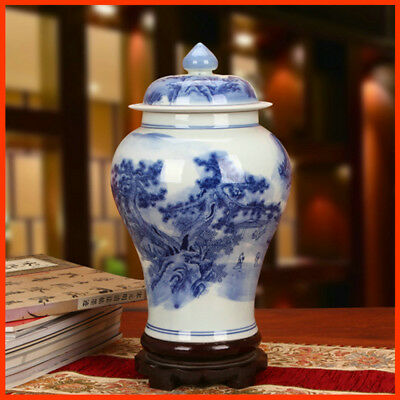 1340s Chinese Antique Replica Blue and-White Porcelain Ceramic Pottery VASE QH02