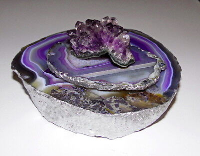 Purple Agate ONE Of A Kind Candle Tea Holder Amethyst Gemstone Top Silver Edge