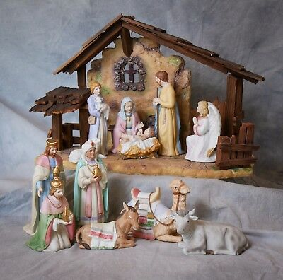 Marvelous Vintage Home Interiors Nativity Set With Stable And Animals
