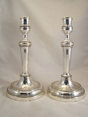 Pair Antique Silvered Bronze / Brass Candlesticks French Louis XVI 18th.C. Pearl