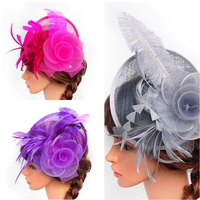 Womens Fascinator Hat Cocktail Party Church Headpiece Wedding Clip Feather US