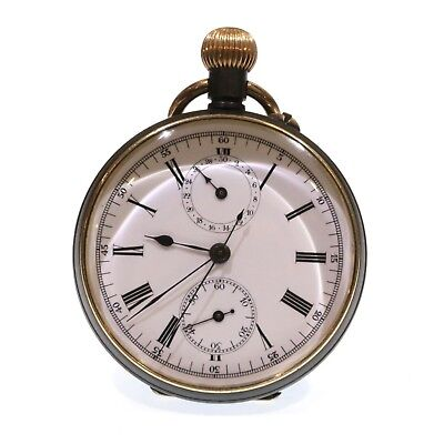 C1900 Antique Complicated Swiss Chronograph Pocket Watch, Serviced