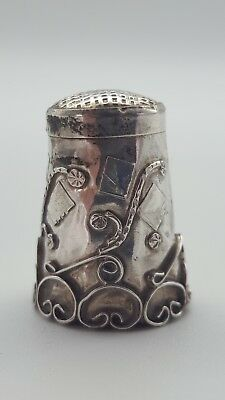 Vintage Mexican Hand Crafted Flowers Sterling Silver 925 Collectors Thimble