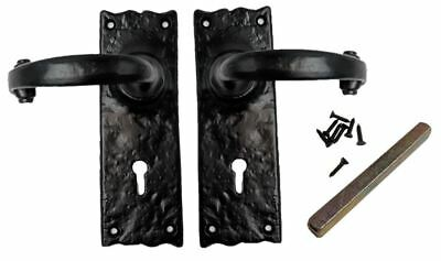 Pair Black Antique Traditional Door Handles Decorative Lock Key Hole Handle Set