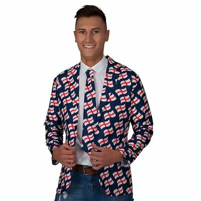 Adult Mens England Flag Suit Jacket and Tie World Cup St Georges Day Fancy Dress