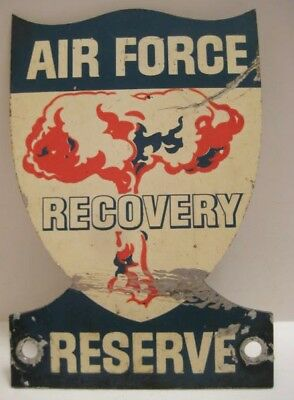 Spectacular Antique Metal Sign Air Force Atomic Bomb Recovery Reserve 1940s-50s