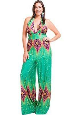 NYTEEZ WOMEN S PLUS Size Halter Wide Leg Jumpsuit Peacock -  26.99 ... 0afdd92b9