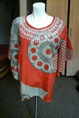 Homemade African print embroidery ladies top free size fit chest up to 44 Rins