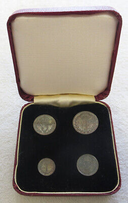 1906 Silver Great Britain Maundy Money Choice 4 Coin Box Set Original Color