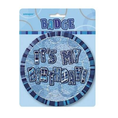 "Blue Glitz It's My Birthday Giant 6"" Birthday Badge Party Badges Decorations"