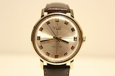 """Vintage Gold Plated Ussr Russia Mechanical Watch """"poljot"""" With Beautiful Dial"""