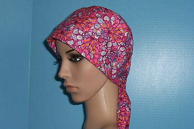 Pink and Purple Mums Pixie Scrub Hat Cap Surgical Medical Chef Chemo