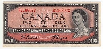 1954 Canada 2 Dollar Note - Out of Register, Obverse - OB1108072, BC-38a