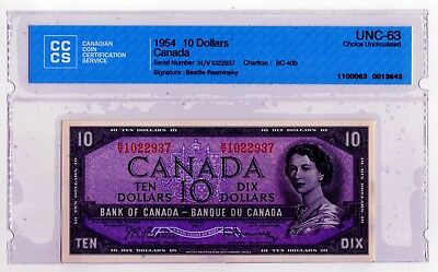 1954 Canada 10 Dollar Note - NV1022937 - UNC-65, BC-40b