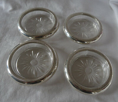 Lot 4 Vintage Crystal and Sterling Silver Drink  Coasters